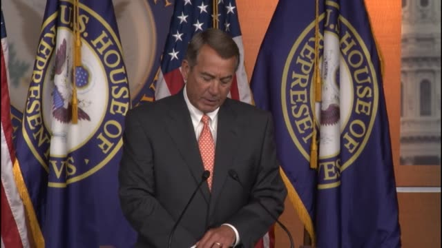 House Speaker John Boehner tells reporters he is pleased with a judge's ruling that the House of Representatives had standing in a lawsuit against...