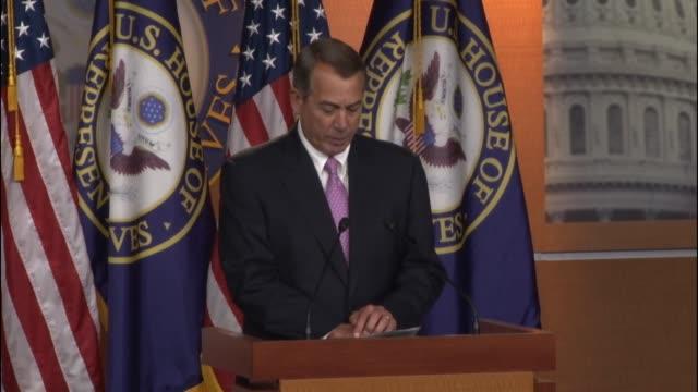 house speaker john boehner tells reporters that democrats' position on passing ndaa is matter of supporting the troops. - amerikanska försvarsdepartementet bildbanksvideor och videomaterial från bakom kulisserna