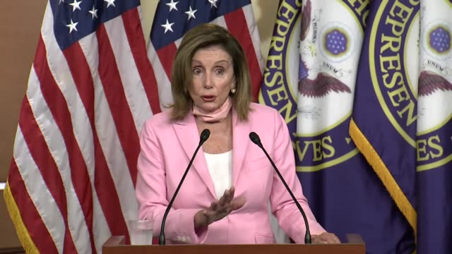 house speaker nancy of california tells reporters at a weekly news conference that delay and denial had caused deaths in the coronavirus pandemic but... - partisan politics stock videos & royalty-free footage