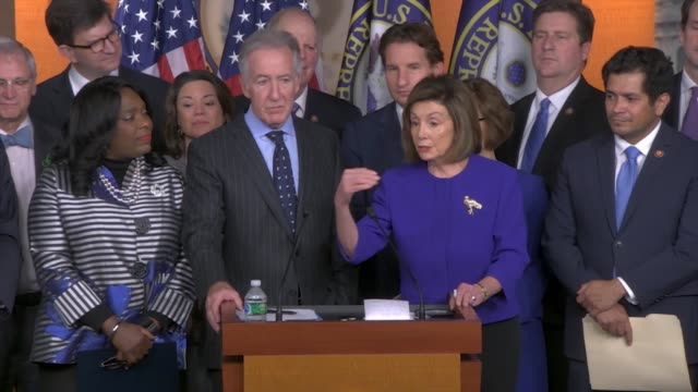 house speaker nancy pelosi is asked by a reporter at a press conference about the usmca trade agreement that in terms of globalization and the... - big tech stock videos & royalty-free footage