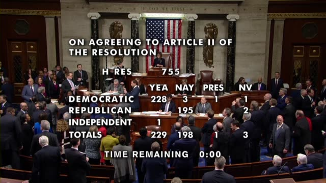 house speaker nancy pelosi of california announces the 229 yeas 198 nays one present to adopt the second article of impeachment against president... - united states congress stock-videos und b-roll-filmmaterial