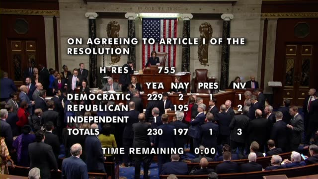 house speaker nancy pelosi of california announces the 230 yeas, 197 nays, one present to adopt the first article of impeachment against president... - reportage stock-videos und b-roll-filmmaterial