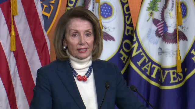 house speaker nancy pelosi of california answers a reporter question about the obligation to negotiate reopening government on day 27 of the... - answering stock videos & royalty-free footage