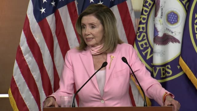 house speaker nancy pelosi of california continues an answer about confederate statues torn down around the country that she was not wedded to... - cristoforo colombo video stock e b–roll