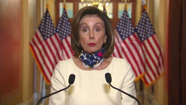 house speaker nancy pelosi of california continues in a televised statement on a three trillion dollar coronavirus relief bill for states, broadband... - control stock videos & royalty-free footage
