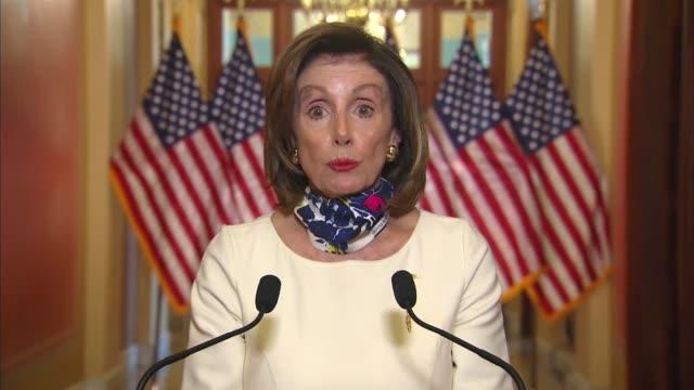 house speaker nancy pelosi of california continues in a televised statement on a three trillion dollar coronavirus relief bill for states, broadband... - disegno di legge video stock e b–roll