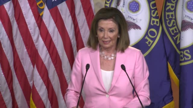 house speaker nancy pelosi of california is asked by a reporter about a remark by republican leader kevin mccarthy that there is not much difference... - nancy pelosi stock videos and b-roll footage