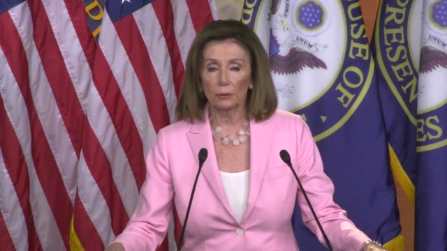 house speaker nancy pelosi of california is asked by a reporter if democrats are in a better position on the usmc a with a letter in trade talks with... - nancy pelosi stock videos and b-roll footage