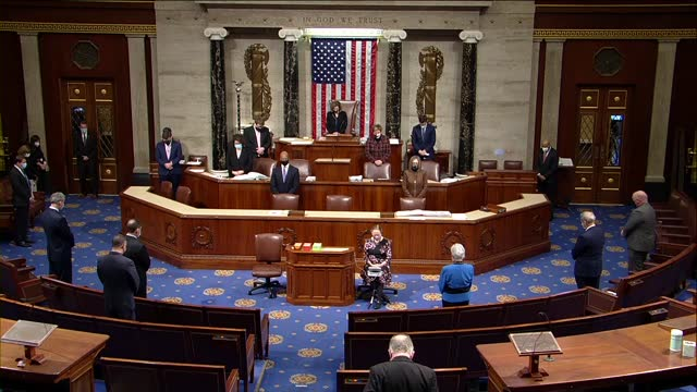 house speaker nancy pelosi of california residing in the chair asks members in the chamber as well as members of staff throughout the capitol arise... - washington dc stock videos & royalty-free footage