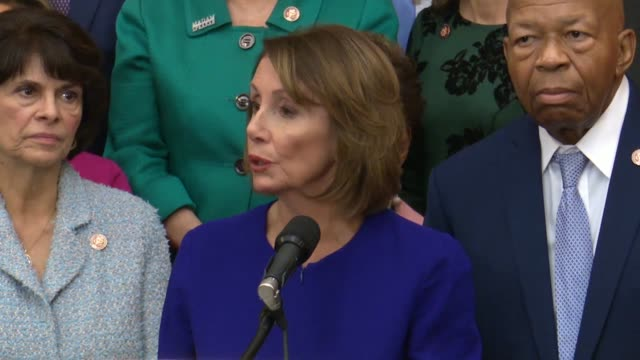 house speaker nancy pelosi of california says at a press conference with democrats to introduce hr 1 the for the people act that the day before... - representing stock videos and b-roll footage