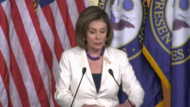 house speaker nancy pelosi of california says at a weekly press conference hours after formally directing committee chairs to draft impeachment... - juror law stock videos & royalty-free footage
