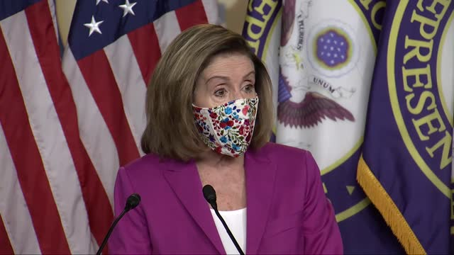 house speaker nancy pelosi of california says at news conference a day after electoral college ballot count finalized for joe biden despite criminal... - united states department of defense stock videos & royalty-free footage