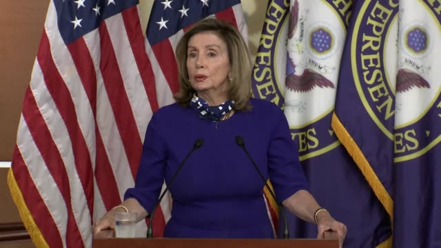 vídeos de stock e filmes b-roll de house speaker nancy pelosi of california says to those who support donald trump at a weekly news conference that she respects them and their vote but... - cargo governamental