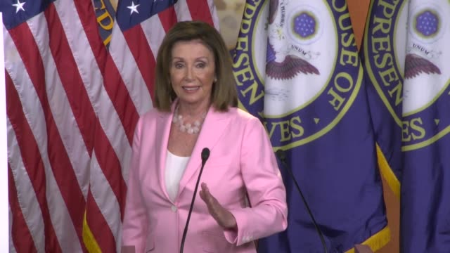 house speaker nancy pelosi of california takes a question from a reporter at a weekly press conference whether she was uncomfortable with the term... - nancy pelosi stock videos and b-roll footage