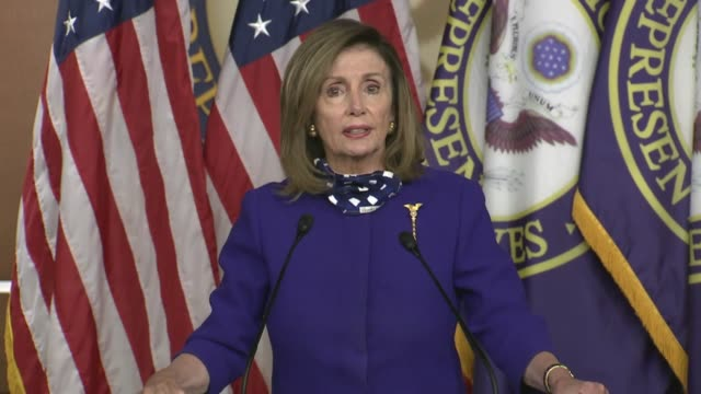 house speaker nancy pelosi of california tells reporters at a news conference on extending the coronavirus unemployment benefit that members here... - assertiveness stock videos & royalty-free footage