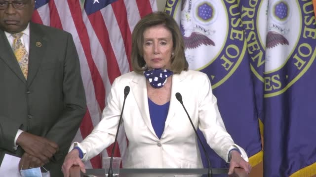 house speaker nancy pelosi of california tells reporters at a press conference with south carolina congressman james clyburn when asked about... - former stock videos & royalty-free footage