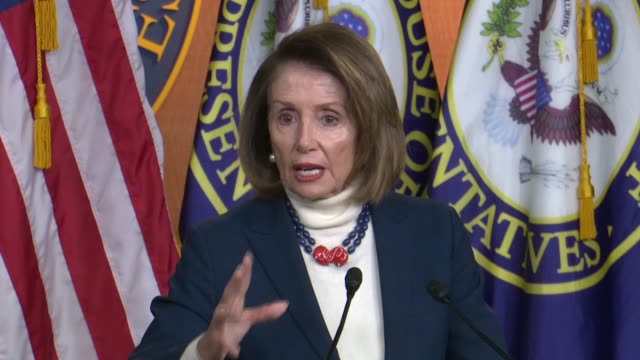 house speaker nancy pelosi of california tells reporters at a weekly briefing on day 27 the partial government shutdown that the state of the union... - united states congress点の映像素材/bロール