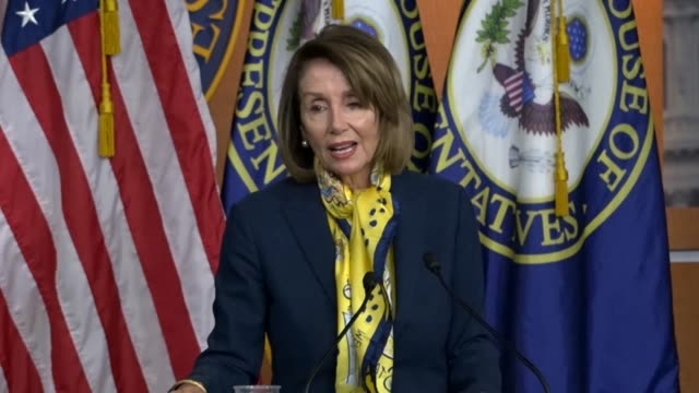 house speaker nancy pelosi of california tells reporters at a weekly briefing on day 34 of a partial government shutdown she hopes the senate would... - ehre stock-videos und b-roll-filmmaterial