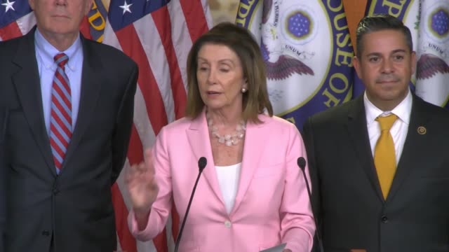 house speaker nancy pelosi says at a press conference on a prescription drug pricing bill introduced that it stops drug companies from ripping off... - bill legislation stock videos & royalty-free footage