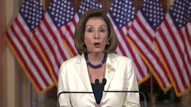 house speaker nancy pelosi says in a televised announcement of her direction to committee chairs to draft articles of impeachment against president... - benjamin franklin stock videos & royalty-free footage