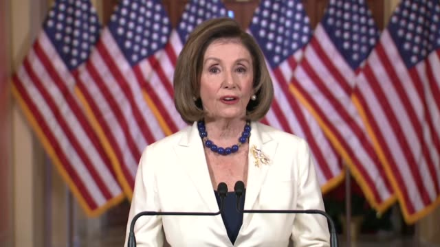 house speaker nancy pelosi says in a televised announcement of her direction to committee chairs to draft articles of impeachment against president... - 独立宣言点の映像素材/bロール