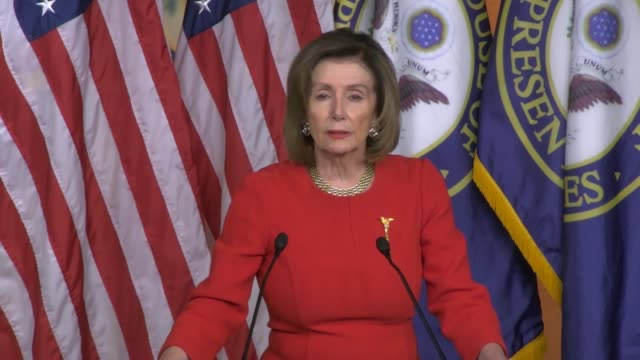 house speaker nancy pelosi tells reporters at a weekly press conference the morning after impeachment articles against president donald trump were... - disegno di legge video stock e b–roll