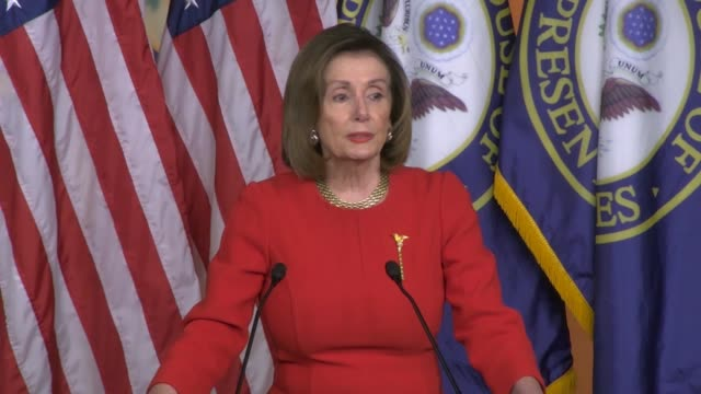 house speaker nancy pelosi tells reporters at a weekly press conference the morning after impeachment articles against president donald trump were... - an answer film title stock videos & royalty-free footage