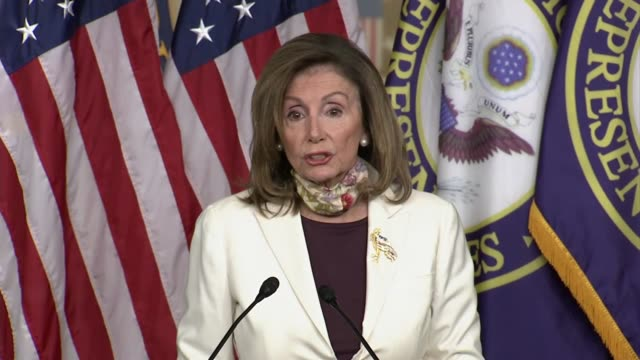 house speaker nancy pelosi tells reporters at a weekly press conference with senator chuck schumer about negotiations on a second comprehensive... - {{asset.href}} stock videos & royalty-free footage