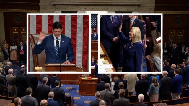 house speaker paul ryan administers the oath of office to arizona eighth district special election winner debbie lesko weeks after her election to... - 週点の映像素材/bロール
