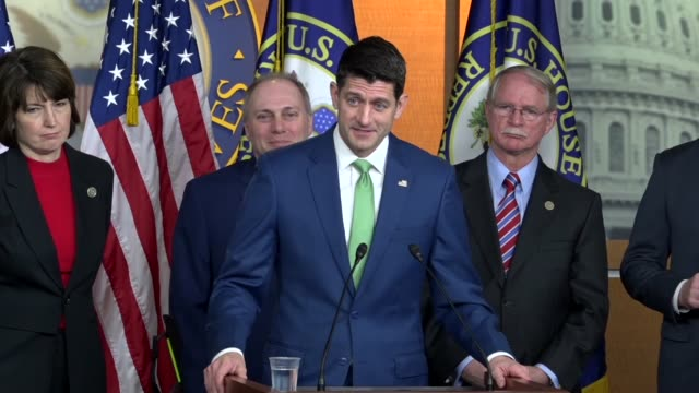 House Speaker Paul Ryan answers a report a question at a weekly briefing about a special election the night before in Pennsylvania district 18 then...