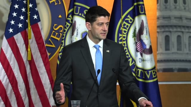House Speaker Paul Ryan answers a reporter question a day after a mass shooting at Marjory Stoneman Douglas High School in Parkland Florida that the...