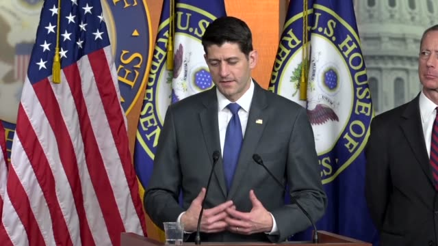 house speaker paul ryan answers a reporter question as a fiscal 2018 omnibus funding bill was before the house about a second pass at tax reform,... - reform stock-videos und b-roll-filmmaterial