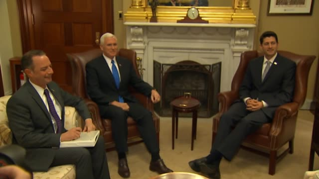 house speaker paul ryan meets with vice presidentelect mike pence and incoming white house chief of staff reince priebus at his capitol office ryan... - membro del congresso video stock e b–roll