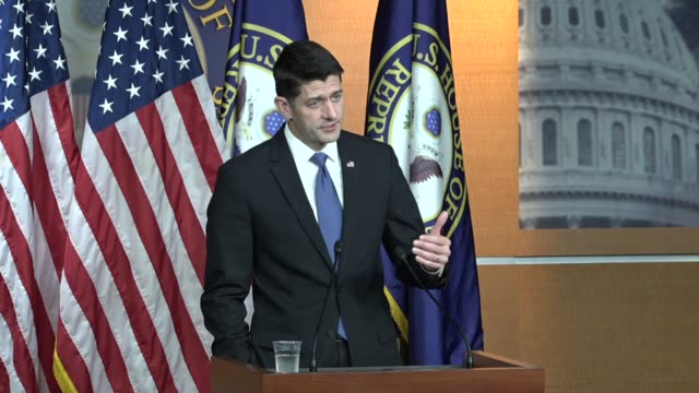 stockvideo's en b-roll-footage met house speaker paul ryan of wisconsin answer questions from reporters as tax reform legislation was moving to the house ways and means committee ryan... - cut video transition