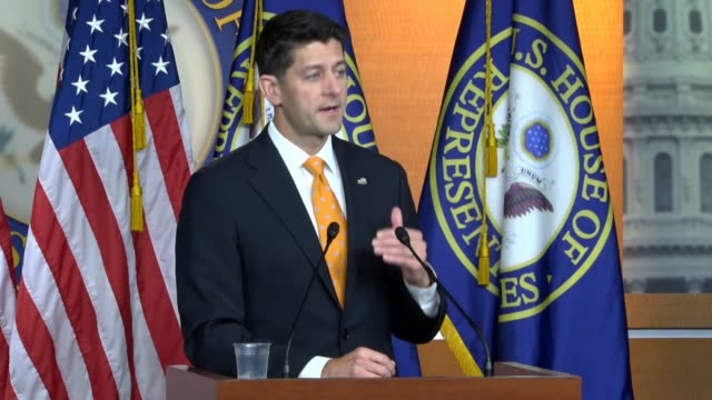 House Speaker Paul Ryan of Wisconsin answers a reporter question about threats from Russia on the 2018 midterm answering a great deal had been...