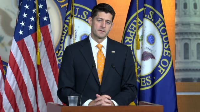 House Speaker Paul Ryan of Wisconsin answers a reporter question about controversial gender comments of Minnesota Congressman Jason Lewis noting he...