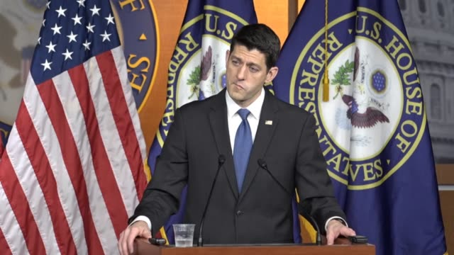 house speaker paul ryan of wisconsin answers press questions about communicating with the trump white house that it is going well and teams are in... - speaker of the house stock videos and b-roll footage