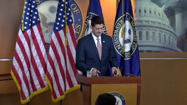 house speaker paul ryan of wisconsin arrives for a weekly press briefing to announce the 39 percent was the lowest unemployment rate in america since... - speaker of the house stock videos and b-roll footage