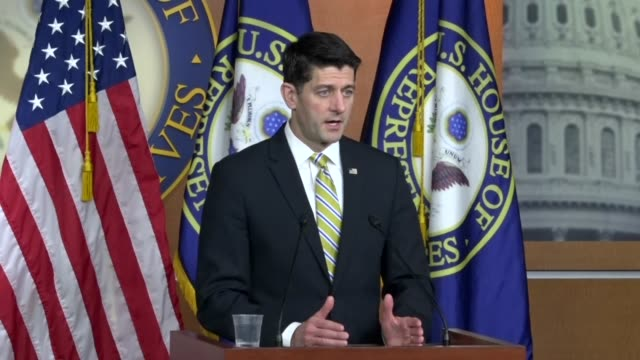 house speaker paul ryan of wisconsin asks reporters at a weekly press briefing if members should not be offering solutions to immigration that a bill... - speaker of the house stock videos and b-roll footage