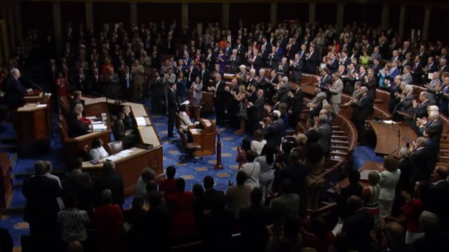house speaker paul ryan of wisconsin delivers a rare statement in the well of the house of representatives during a brief session after majority whip... - united states congress stock-videos und b-roll-filmmaterial