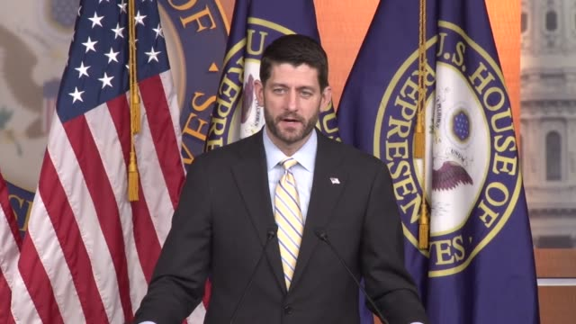 house speaker paul ryan of wisconsin fields a question from a reporter about supporting a candidate before the republican party selects its nominee... - speaker of the house stock videos and b-roll footage