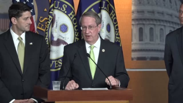 house speaker paul ryan of wisconsin fields questions from reporters at a weekly briefing house judiciary committee chairman bob goodlatte of... - sanctuary city stock videos & royalty-free footage