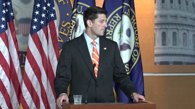 house speaker paul ryan of wisconsin fields questions from reporters at a weekly briefing asked about how healthcare is being handled by the senate... - air traffic control点の映像素材/bロール