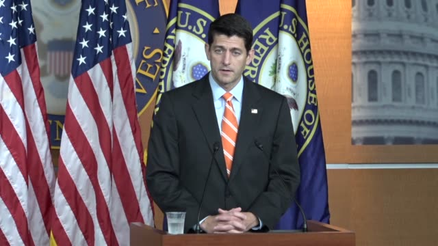 house speaker paul ryan of wisconsin fields questions from reporters at a weekly briefing answering a question about paying for transgender... - department of defense stock videos and b-roll footage