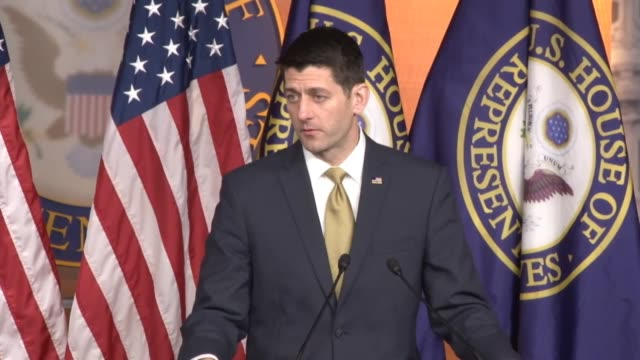 house speaker paul ryan of wisconsin is asked about a fiscal 2017 budget resolution saying the house is still ahead of its self imposed deadline is... - speaker of the house stock videos and b-roll footage