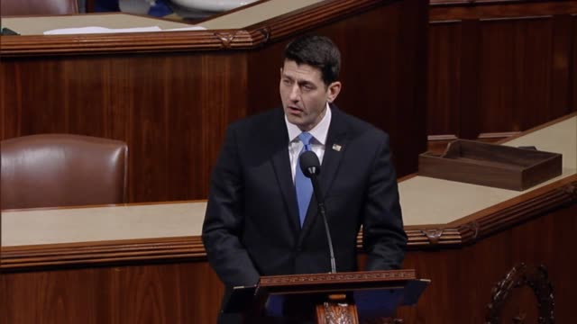 house speaker paul ryan of wisconsin is met with applause before taking the well to argue in support of the american health care act the result of it... - politiker stock-videos und b-roll-filmmaterial