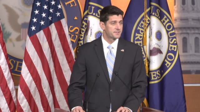 house speaker paul ryan of wisconsin or tells reporters that 2016 for him will be about going on the offensive on ideas that americans deserve a... - speaker of the house stock videos and b-roll footage