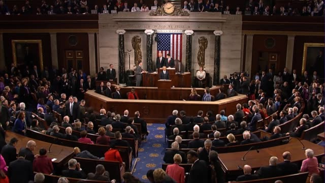 house speaker paul ryan of wisconsin proclaims his high privilege and distinct honor of presenting president barack obama to applause - governmental occupation stock videos & royalty-free footage