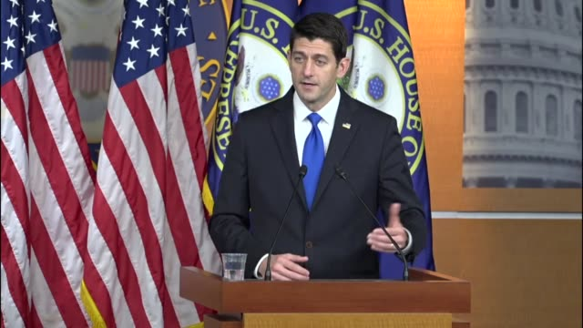 house speaker paul ryan of wisconsin speaks with reporters at a weekly press conference after the 2016 election addressing questions related to the... - speaker of the house stock videos and b-roll footage