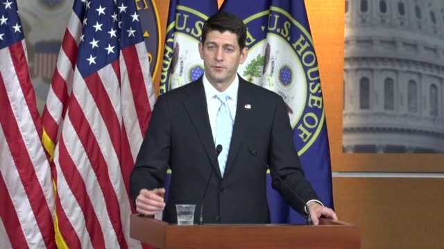 House Speaker Paul Ryan of Wisconsin takes questions from the press saying that he is in complete sync with Donald Trump and Mike pence on a way...